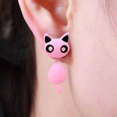 3d Lovely Cute Cat Stud Earrings  2017 New Designs