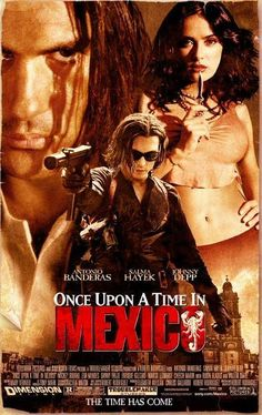 "Directed by Robert Rodriguez. With Antonio Banderas, Salma Hayek, Johnny Depp, Willem Dafoe. Hitman ""El Mariachi"" becomes involved in international espionage involving a psychotic CIA agent and a corrupt Mexican general. Mickey Rourke, Best Movie Posters, Movie Titles, Cinema Posters, Salma Hayek, Film Johnny Depp, Here's Johnny, See Movie, Movie Tv"