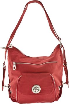 """The Baggallini Brussels Bagg is so versatile you can wear it three ways! This women's bag can be worn as a shoulder bag, pull the shoulder straps outward and it converts to a backpack, or unhook the shoulder straps and reattach to the top """"O"""" rings and wear it as a cross body bag. There is organization galore in this bag."""