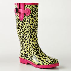 Yellow, Pink, and black rubber boots