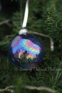 DIY Glitter Galaxy Christmas Ornaments | Some of This and That