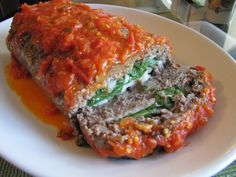Rolled Italian Meatloaf…With Spinach, Mozzarella, and Fresh Tomato Basil Sauce