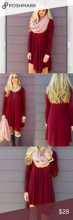 Merlot T shirt Dress Cotton t shirt dress Dresses Mini