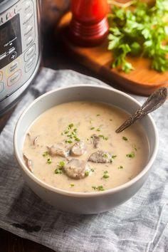 Instant Pot Mushroom Soup Best Spaghetti Recipe, Spaghetti Recipes, Mushroom Soup, Mushroom Recipes, Easy Soup Recipes, Dinner Recipes, Dinner Ideas, Veg Soup, Stuffed Mushrooms
