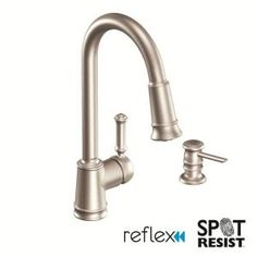 MOEN Lindley Single-Handle Pull-Down Sprayer Kitchen Faucet in Spot Resist Stainless with Soap Dispenser-CA87012SRS at The Home Depot