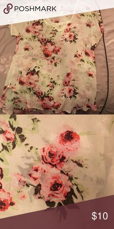 Rose Shirt Light rose printed shirt; see through; worn once; if you have any questions, please let me know 😊; ⭐️I usually accept reasonable offers⭐️ Live 4 Truth Tops Blouses