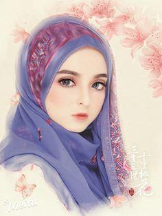 A beautiful woman. Love Cartoon Couple, Cute Couple Art, Girl Cartoon, Cartoon Art, Cute Couples, Lovely Girl Image, Girls Image, Tmblr Girl, Hijab Drawing