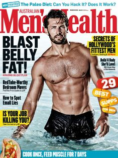 Tim Robards by Jason Ierace on the cover of Men's Health Australia (March 2014) #TimRobards #JasonIerace #Australian #malemodel #model #fitness #fitnessmodel #ChadwickModels #TheBachelor #MensHealth #cover #beard #pecs #chest #abs #muscles #swim #swimwear #pool #sea #water