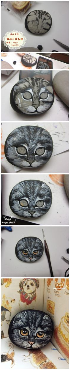 cat stone Painted
