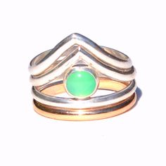 Chrysoprase Chevron Stacking Rings - 3 Ring Set - Your choice of stone