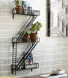 Buy New York Fire Escape Rack in Singapore,Singapore. New York, New York. The humble fire escape is as much an icon of the city as the grand buildings around. Think Holly Golightly singing on the fire escape in Bre Chat to Buy Fire Escape Shelf, Deco New York, Deco Originale, Home And Deco, Industrial Chic, Industrial Shelving, Modern Shelving, Metal Shelving, Design Industrial