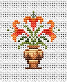 Lilium Flower cross stitch pattern, You can cause really unique styles for textiles with cross stitch. Cross stitch types can almost amaze you. Cross stitch beginners can make the types they want without difficulty. Blackwork Cross Stitch, Tiny Cross Stitch, Cross Stitch Letters, Cross Stitch Borders, Cross Stitch Flowers, Cross Stitch Designs, Cross Stitching, Cross Stitch Embroidery, Stitch Patterns