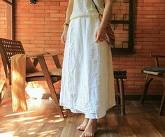 Gorgeous Handmade #Linen Lagenlook Skirt with Embroidery