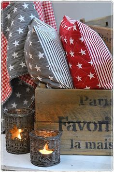 How to Decorate with an Americana Theme Red Christmas, Christmas Time, Holiday, Xmas, Red And Grey, Red White Blue, Patriotic Decorations, Old Glory, Twinkle Twinkle Little Star