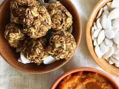 Pumpkin season is here but more importantly, pumpkin spice season! We aren& talking about lattes either. These bite-sized snacks pack in. Protein Packed Breakfast, Breakfast Recipes, Snack Recipes, Healthy Halloween Treats, Healthy Snacks, Healthy Eating, Healthy Grains, Halloween Snacks, Healthy Recipes