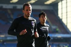 Harry Kane and Heung-Min Son of Tottenham Hotspur warm up prior to the Premier League match between Burnley FC and Tottenham Hotspur at Turf Moor on February 2019 in Burnley, United Kingdom. Burnley Fc, Harry Kane, Tottenham Hotspur Fc, Premier League Matches, Football Team, World Cup, Sons, Football Equipment, Football Squads