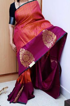 Beautiful saree with broad border South Indian Sarees, Indian Silk Sarees, Soft Silk Sarees, Indian Attire, Indian Ethnic Wear, Indian Dresses, Indian Outfits, Bollywood Saree, Rekha Saree