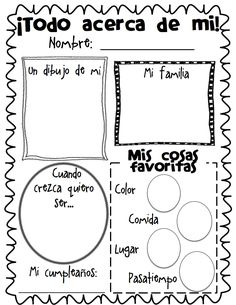 All About Me Poster Freebie.have them do at the beginning and end of each school year! I remember my kids doing these same posters when they were in elementary. Bilingual Classroom, Bilingual Education, Spanish Classroom, Classroom Freebies, Elementary Spanish, Teaching Spanish, Teaching Resources, Beginning Of The School Year, First Day Of School