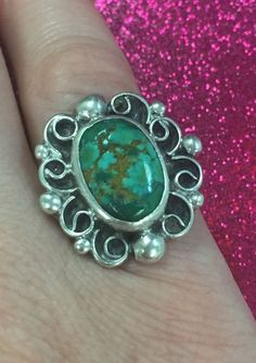 Vintage Sterling Silver Turquoise Ring Size 7.5 Navajo Southwestern