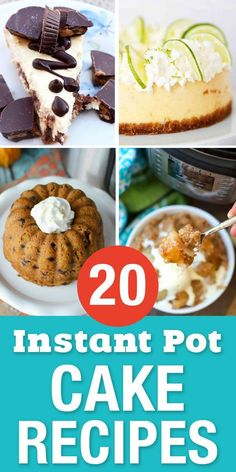 Easy Instant Pot Cake Recipes for your sweet tooth! These delicious pressure cooker desserts are great for when you need something sweet quick. All kinds of amazing cheesecake recipes and one of my favorites is a chocolate lava cake! Mini Desserts, Quick Easy Desserts, Easy Cake Recipes, Dessert Recipes, Delicious Desserts, Delicious Chocolate, Fast Crock Pot Recipes, Chicken Recipes, Instant Pot Cake Recipe