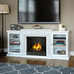 Real Flame Frederick White Entertainment Center Gel Fuel 72-inch Fireplace