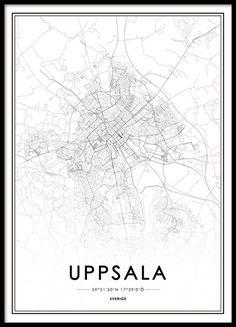 Affisch, poster med karta över Uppsala. Snygg svartvit tavla. Från 129kr