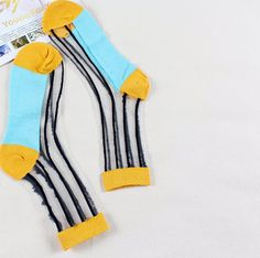 This listing is for a pair of Japanese Banana Stripe Print Nylon Socks. We bring to you our latest tongue-and cheek design., featuring our range of