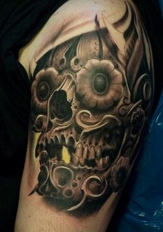 Black and Grey Sugar Skull Tattoo By Victor Portugal 2009 #tattoo #design #mexican