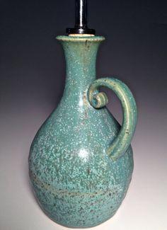 Pottery Olive Oil Bottle Handmade Cruet Dispenser Vinegar