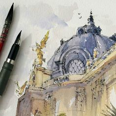 Beautiful #fountainpen & #watercolor #urbansketch by Instagram artist @hillkurtz of the Petit Palais museum in Paris France. The building was designed by Charles Girault at the end of the 1800s and it opened at the turn of the 20th century.  The rough urbansketcher drawing style provides just enough structure to the drawing to let you know that it is a building while the loose application of watercolor paint gives it all kind of an abstract feeling and makes the colors appear like they are…