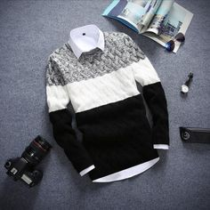 2018 Brand New Sweaters Men Fashion Style Autumn Winter Patchwork Knitted Qualityuotelab Mens Fashion Sweaters, Casual Sweaters, Sweater Outfits, Men Sweater, Casual Outfits, Mens Winter Sweaters, Simple Outfits, Stylish Men, Men Casual