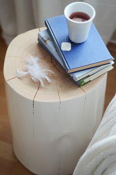 Simple bedside table - painted log