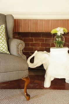 houndstooth chair and elephant side table.