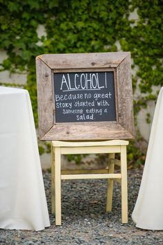alcohol because no great story started with someone eating a salad
