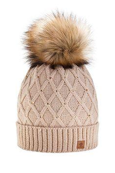Women Girls Winter Beanie Hat Wool Knitted CRYSTAL with Large Fur Pom Pom Cap SKI Snowboard Hats (Black)