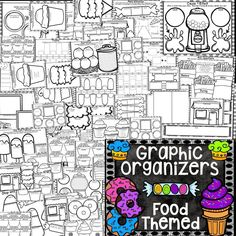 OVER 50 GRAPHIC ORGANIZERS in a fun FOOD THEME!!!  My students LOVE filling these out and then coloring them when they are done!  $