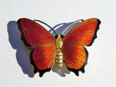 Art Deco silver and enamel butterfly brooch made by the firm of John Atkins & Son of Birmingham. Fully hall-marked for sterling silver, Birmingham and date letter t for 1918. maker's initials J A & S on the reverse.