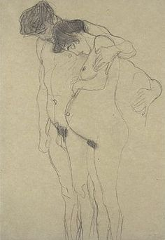 gustav klimt pencil drawings | Klimt drawing, Pregnant Woman with Man sketch, 1903-4