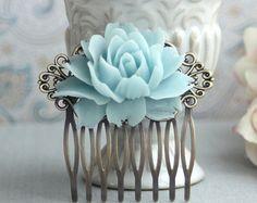 Aqua Blue Rose Flower Antiqued Brass Hair Comb. Tiffany Blue Wedding Floral Hair Comb. Bridesmaid Hair Comb. Wedding Bridal Hair Comb.