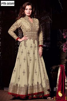 Z Fashion Trend: DIA MIRZA IN BEIGE AND RED HEAVY EMBROIDERED ANARK...