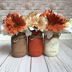 Fall Painted Mason Jars, Fall Table Decor, Thanksgiving Centerpiece, Rustic Fall Decor, Rustic Thanksgiving Decor, Rustic Mason Jars, by CBCraftyCreations on Etsy                                                                                                                                                                                 More