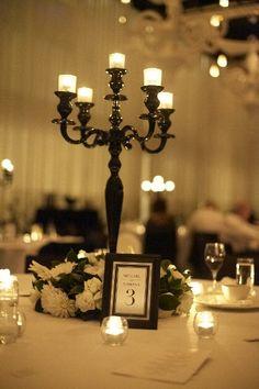 Wedding Ceremony Ideas, Wedding Reception Decorations, Our Wedding, Dream Wedding, Wedding Tables, Table Decorations, Black Centerpieces, Candelabra Centerpiece, Party Centerpieces