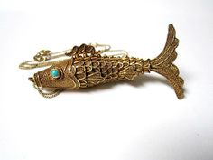 Articulated Silver Fish Pendant Vintage Necklace by SoBejeweled
