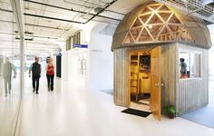 Airbnb's office was inspired by various listings on the site.  This meeting room is modeled after a tree house apartment a member posted for rent.