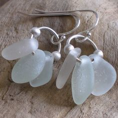 Natural Sea Glass Sterling Silver Earrings Soft Seafoam and White (254)