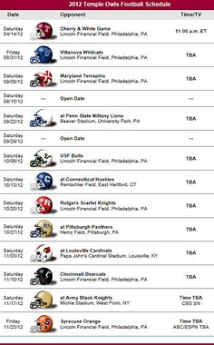 Temple Owls Football 2012 Schedule