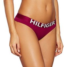 Tommy Hilfiger Cotton Thong Bold, String Femme, Rouge (Beet Red-Pt), 36 (Taille Fabricant: SM): Tweet