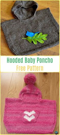 Knit Hooded Baby Poncho Free Pattern - Knit Baby Sweater Outwear Free Patterns