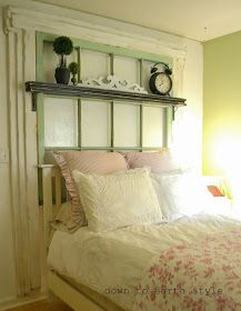 DIY:  Salvaged Window Headboard - awesome tutorial & pictures that show each step.