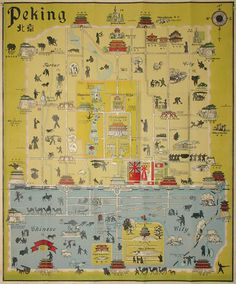 PEKING OUT: Pictorial street map of the inner city of Beijing (then known as Peking or Peiping--click on image for an explanation), decorated with small illustrations of buildings, and silhouettes of workers, pedestrians and animals, including camel trains. Drawn by John Kirk Sewall, an American, labeled in English and Chinese, and published in China, apparently to help foreigners get around. We've dated it to c. 1938-45 based on the Nazi flags denoting the German and Austrian foreign…